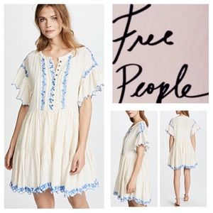 Free People Santiago Embroidered Mini Dress.  NWT.